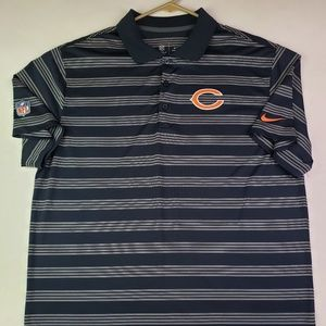 Nike Dri Fit Chicago Bears Stripe Golf Polo NFL